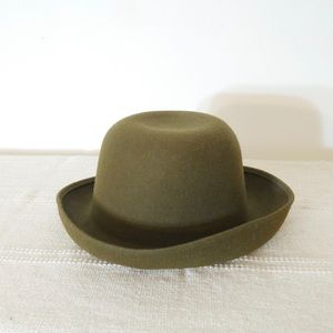 Vintage Olive Green Wool Bowler Type Hat